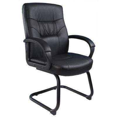Black Executive Mid Back LeatherPlus Guest Chair with Cantilever Sled Base