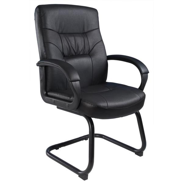 Boss Black Executive Mid Back LeatherPlus Guest Chair with Cantilever Sled