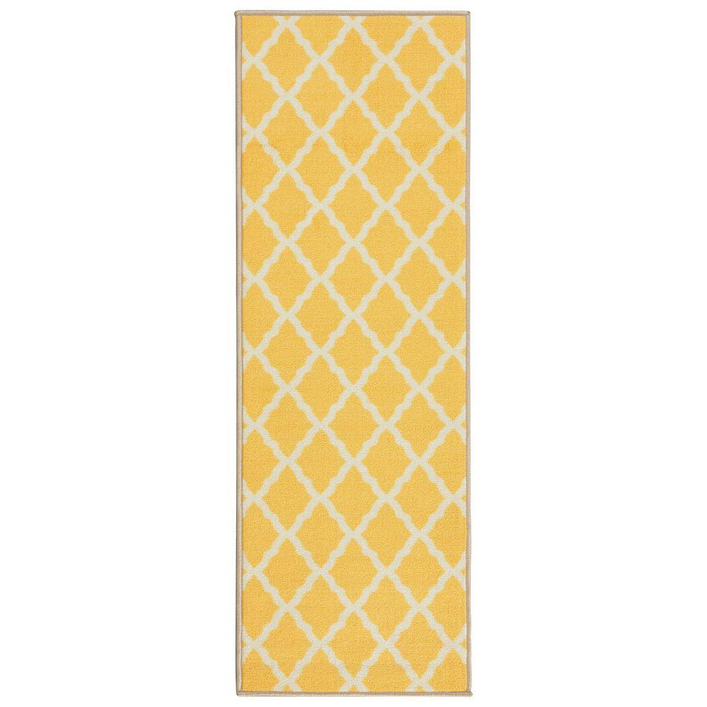 Ottomanson Glamour Collection Contemporary Moroccan Trellis Design Yellow 2 ft. x 5 ft. Kids Runner Rug was $18.04 now $13.53 (25.0% off)