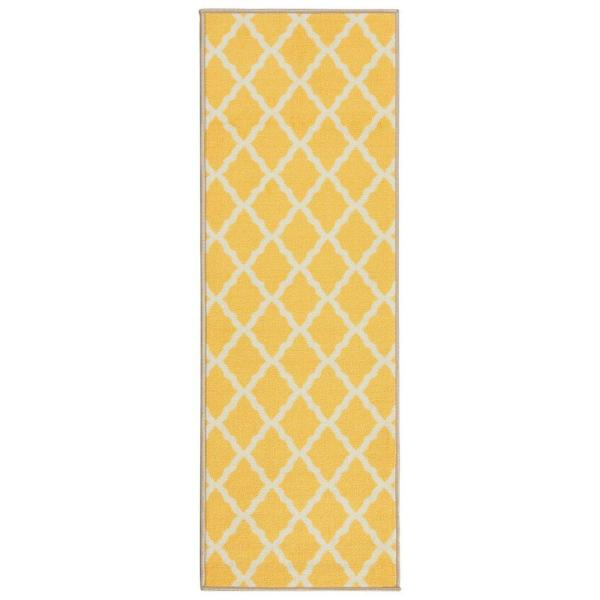 Glamour Collection Contemporary Moroccan Trellis Design Yellow 2 ft. x 5 ft. Kids Runner Rug