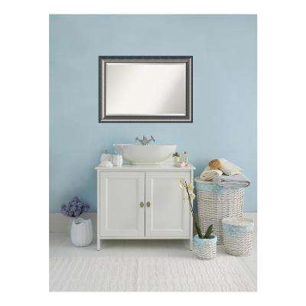 Quick Metallic Silver Scoop Wood 42 in. W x 30 in. H Single Contemporary Bathroom Vanity Mirror