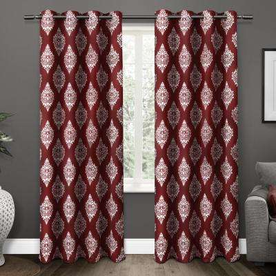 Medallion 52 in. W x 84 in. L Woven Blackout Grommet Top Curtain Panel in Burgundy (2 Panels)