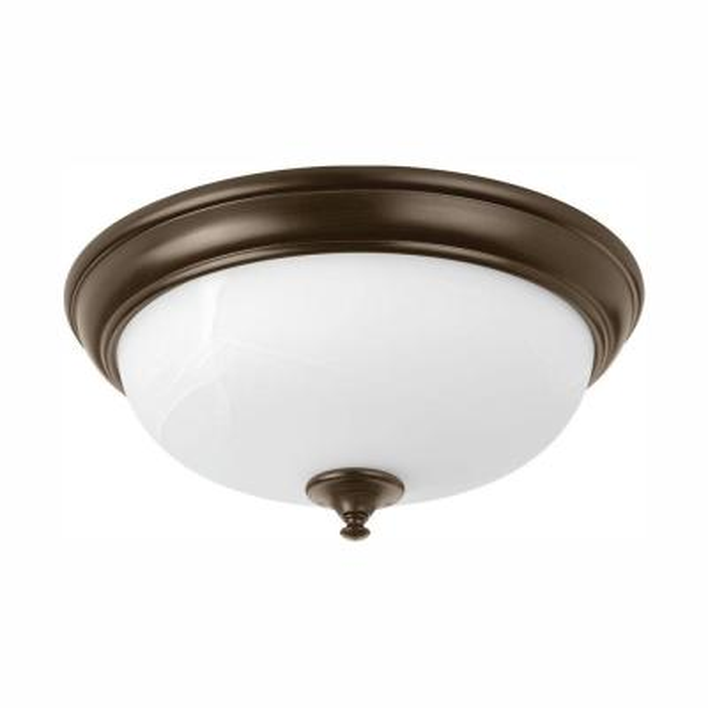 15 in. Alabaster Collection 28 -Watt Antique Bronze Integrated LED Flush Mount