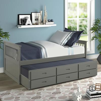 Grey Twin Size Solid Wood Bed with Trundle and Drawers