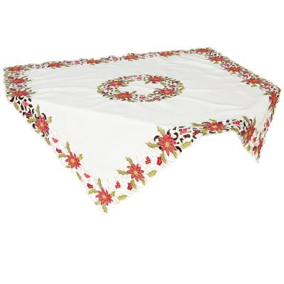 Xia Home Fashions 34 In X 34 In Poinsettia Lace Embroidered Cutwork Table Topper Xd147823434 The Home Depot