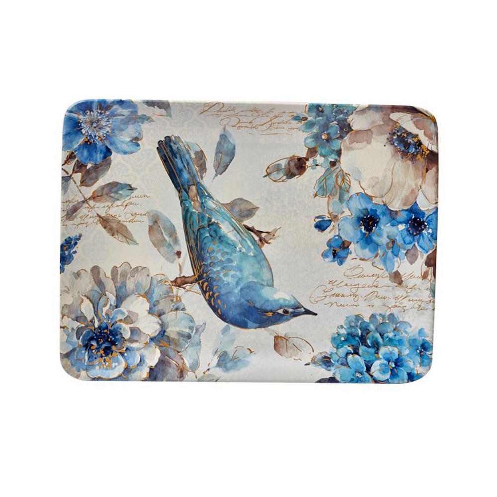 Indigold Blue/White Ceramic 16 in. x 12 in. Rectangular Platter
