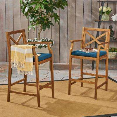 Perla Teak Brown Wood Outdoor Bar Stool with Blue Cushion (2-Pack)