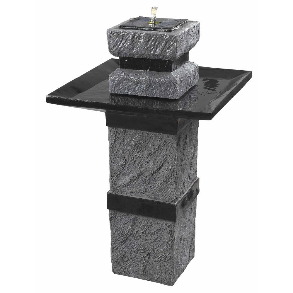 Kenroy Home Monument Outdoor Remote Controlled Solar 34 in. Floor Fountain