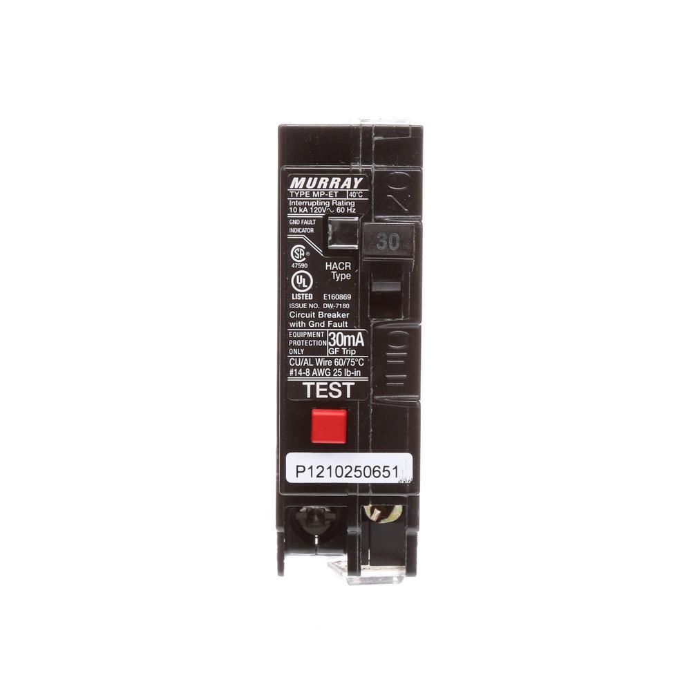 30 Amp Single Pole Type MP-ET Ground Fault Equipment Protection Circuit