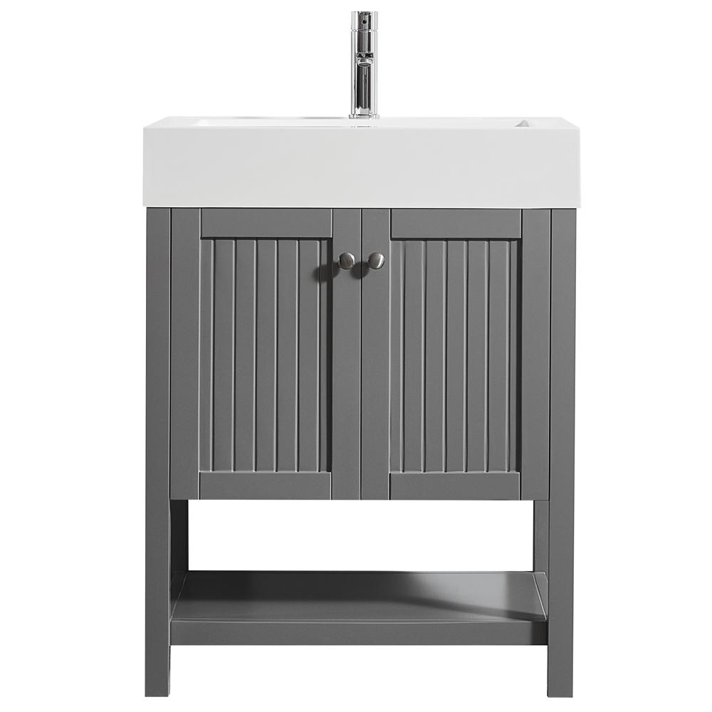 Bon Pavia 28 In. W X 20 In. D Vanity In Grey With Acrylic Vanity