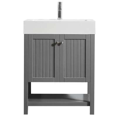 Pavia 28 in. W x 20 in. D Vanity in Grey with Acrylic Vanity Top in White with White Basin