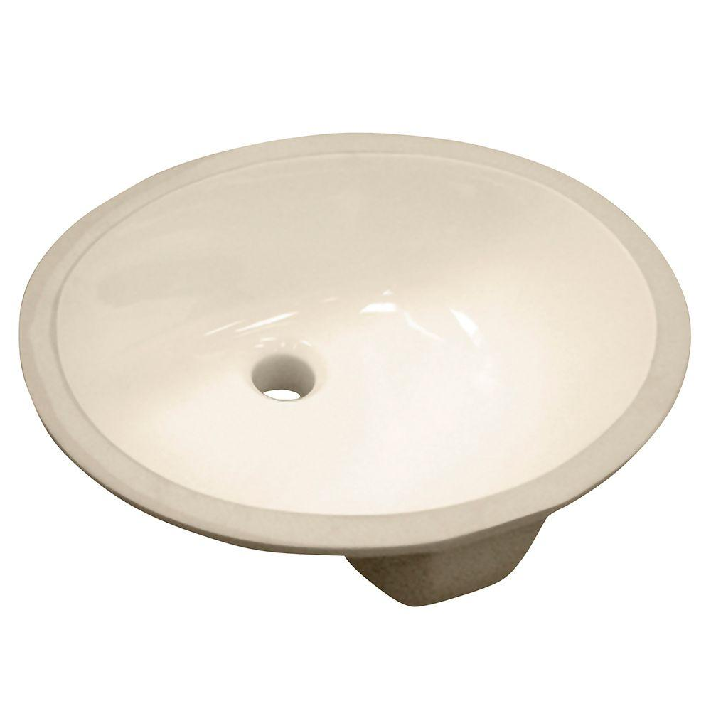 Foremost Vitreous China Oval Undermount Bathroom Sink In Biscuit