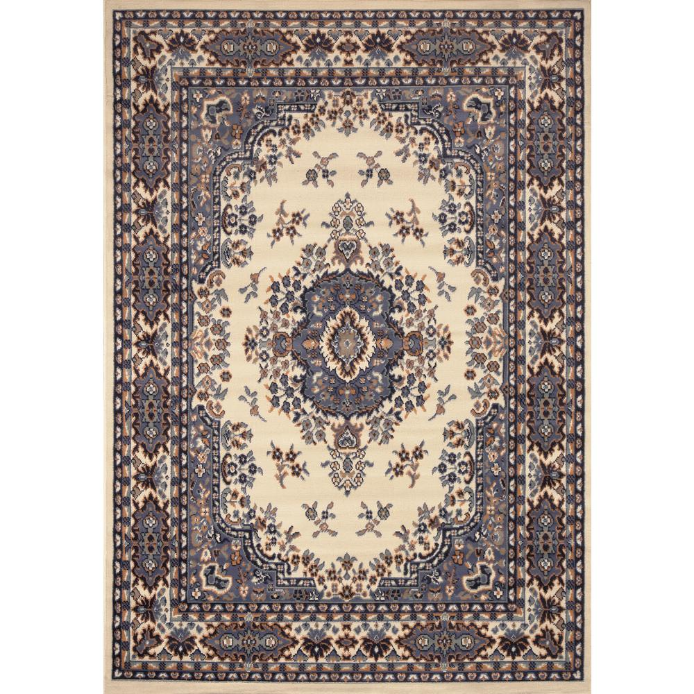 Premium Ivory/Blue 5 ft. 2 in. x 7 ft. 4 in.