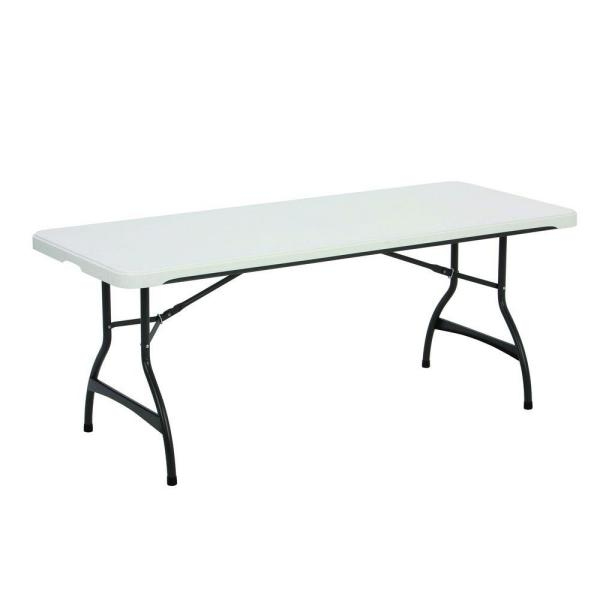 72 in. White Plastic Stackable Folding Utility Table