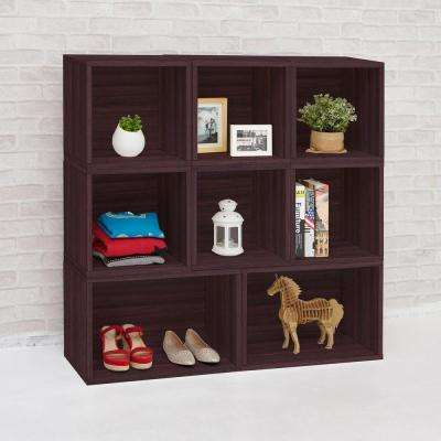 Blox System Milan Eco zBoard Tool Free Assembly Espresso Stackable Modular Open Bookcase