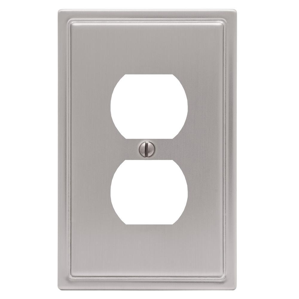 Moderne 1 Gang Duplex Steel Wall Plate - Brushed Nickel