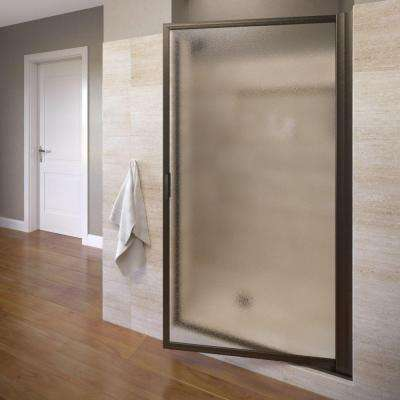Deluxe 36 in. x 70-1/2 in. Framed Pivot Shower Door in Oil Rubbed Bronze with Obscure Glass