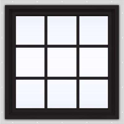 24 in. x 24 in. V-4500 Series Black FiniShield Vinyl Fixed Picture Window with Colonial Grids/Grilles