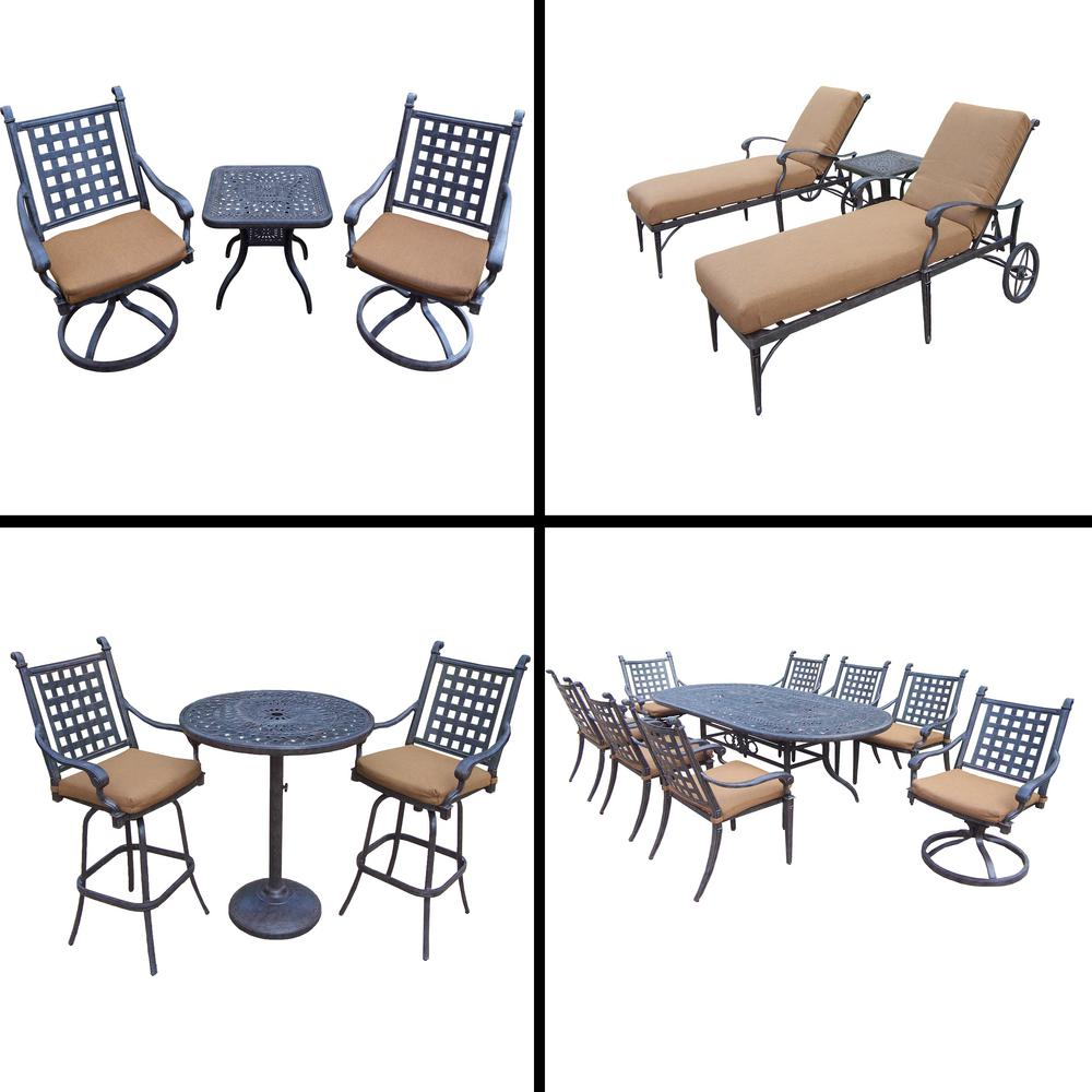 Belmont 18-Piece Aluminum Outdoor Dining Set with Sunbrella Brown Cushions