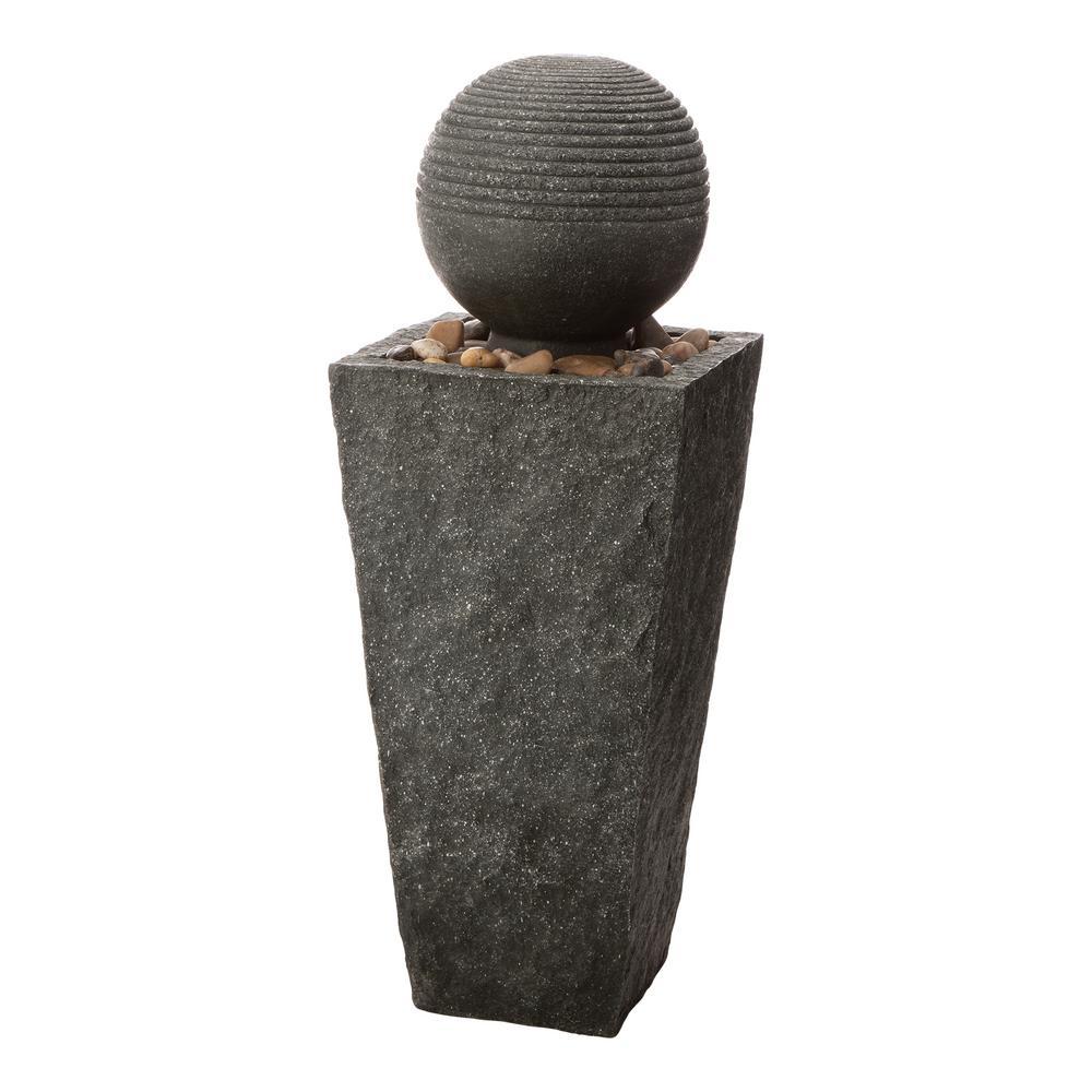 31.69 in. H Outdoor Polyresin Rippling Floating Sphere Pedestal Floor Fountain