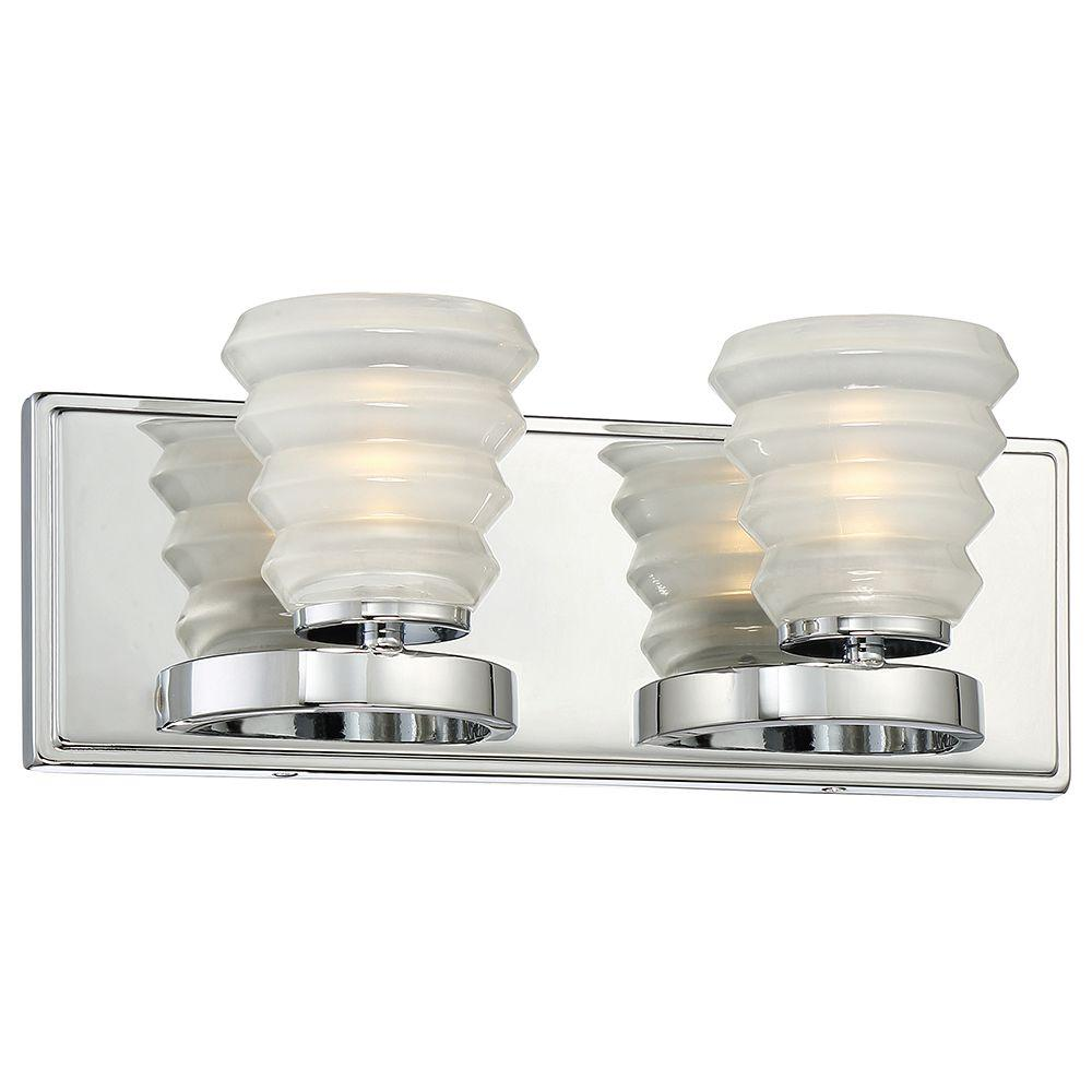 2-Light Chrome LED Bath Vanity Light