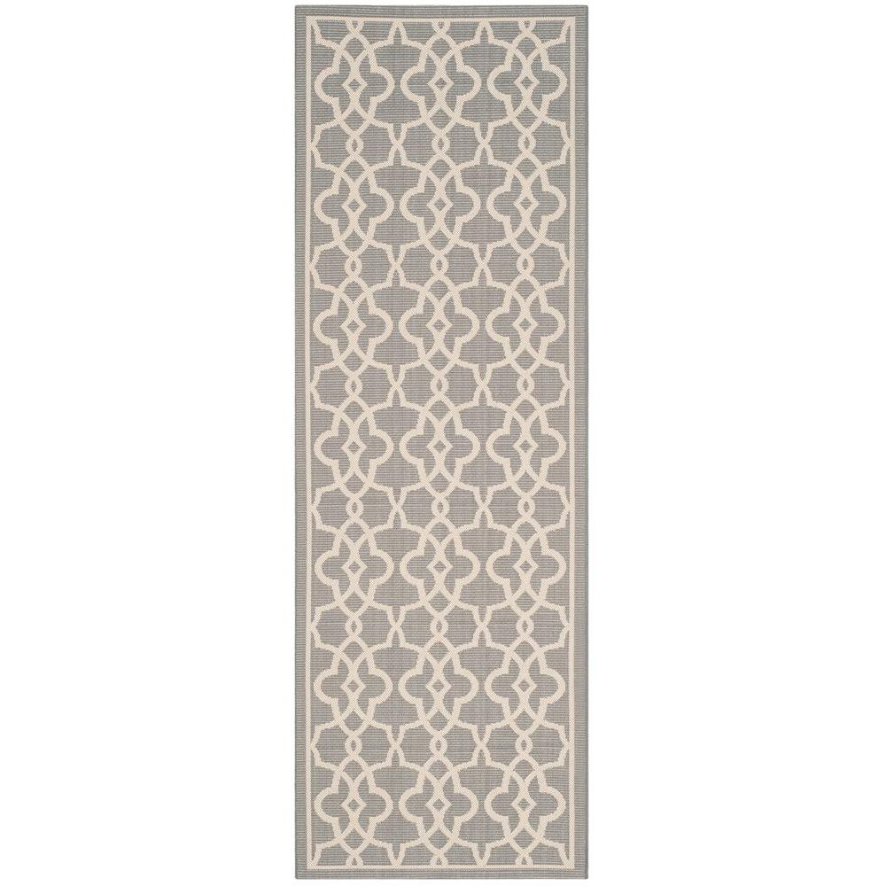 safavieh courtyard gray beige 3 ft x 8 ft indoor outdoor runner rug cy6071 246 38 the home depot. Black Bedroom Furniture Sets. Home Design Ideas