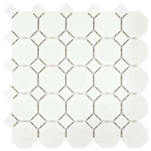 Merola Tile Metro Octagon Matte White With Dot 11 1 2 In X 5 Mm Porcelain Mosaic 9 Sq Ft Case Fxlmowwt The Home Depot