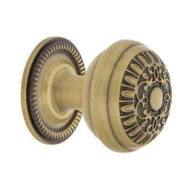 Egg & Dart 1-3/8 in. Antique Brass Cabinet Knob with Rope Rose