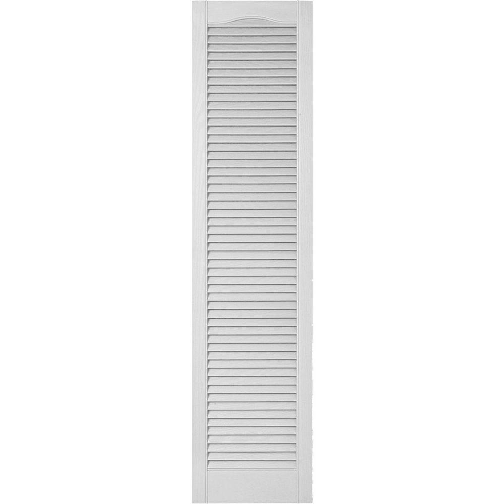 Ekena Millwork 14-1/2 in. x 93 in. Lifetime Vinyl Custom Cathedral Top All Open Louvered Shutters Pair White