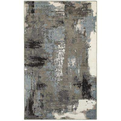 Walnut/Silver Blue Rectangle 7 ft. 9 in. x 9 ft. 5 in. Indoor Area Rug