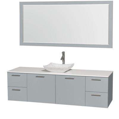 Amare 72 in. W x 22 in. D Vanity in Dove Gray with Solid-Surface Vanity Top in White with White Basin and 70 in. Mirror
