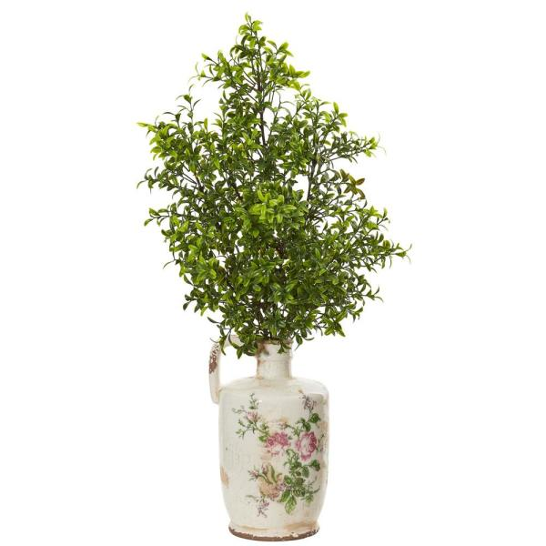 Nearly Natural Indoor 26 in. Boxwood Artificial Plant in Floral Print