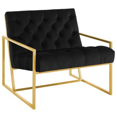 Bequest Black Gold Stainless Steel Upholstered Velvet Accent Chair