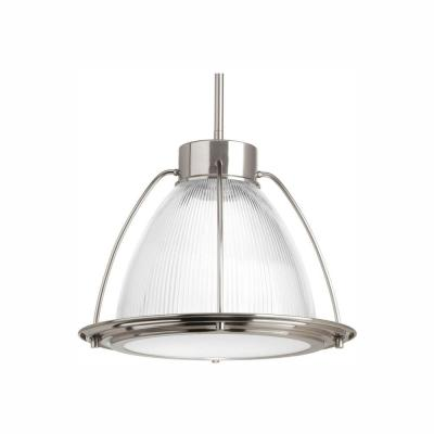 1-Light Brushed Nickel LED Pendant with Clear Prismatic Glass Shade