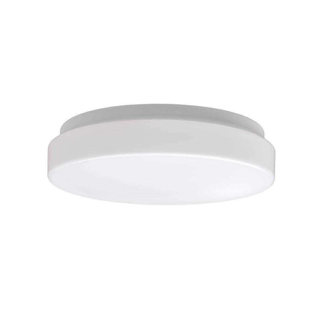 Commercial Electric Low Profile 7 In White 60 Watt Equivalent Round Integrated Led Flush