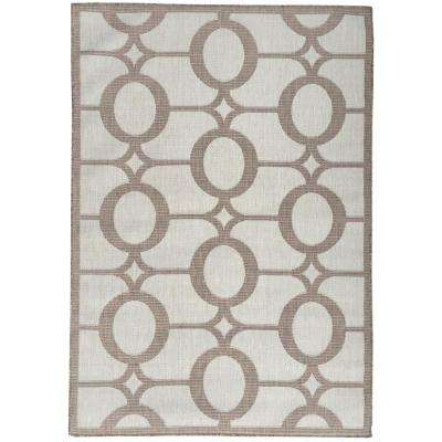 Summer Collection Circles Design Natural Beige 5 ft. x 7 ft. Indoor/Outdoor Area Rug