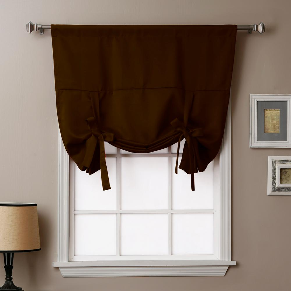 Best Home Fashion Basic 42 in. W X 63 in. L Drapery Panel in Dark Chocolate