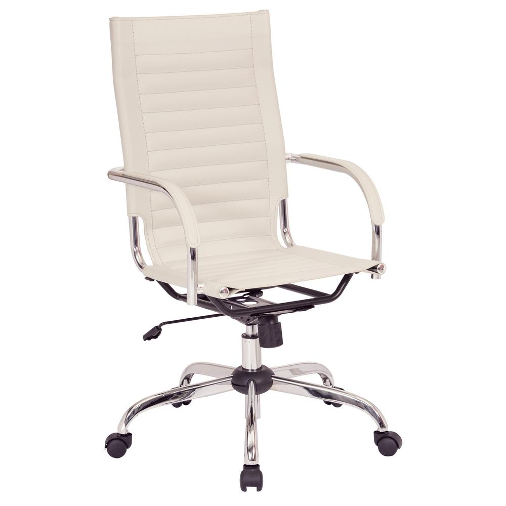 Trinidad high back office chair with fixed padded arms and chrome base and accents in cream fabric