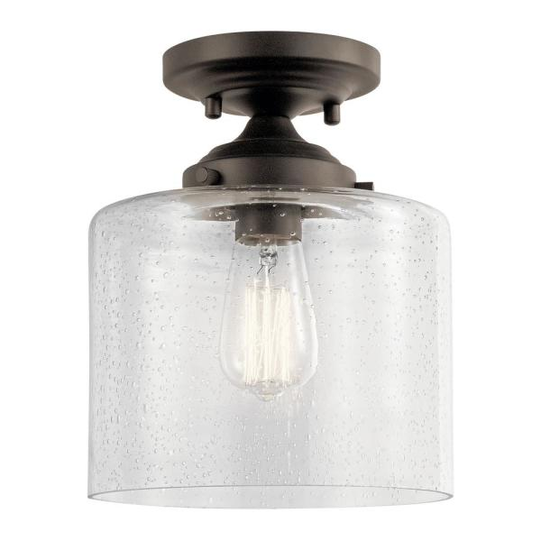 Hampton Bay 1 Light Oil Rubbed Bronze Vintage Bulb Semi Flush Mount With Bell Shaped Clear Glass Shade Sf0131106 1 6 The Home Depot