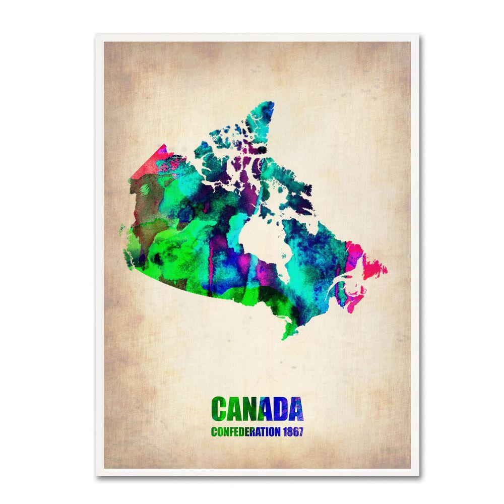 null 32 in. x 24 in. Canada Watercolor Map Canvas Art