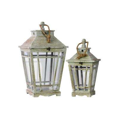 Gray Candle Wooden Decorative Lantern