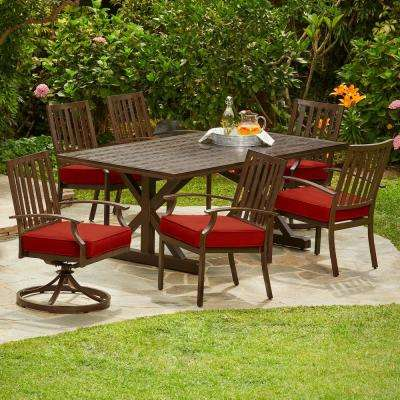 Bridgeport Heights 7-Piece Metal Outdoor Dining Set with Red Cushions