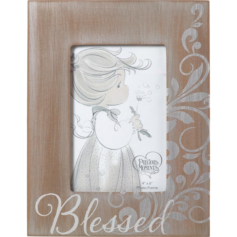Precious Moments 4 in. x 6 in. Brown & Gray Distressed Wood Blessed ...
