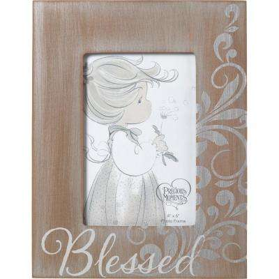 4 in. x 6 in. Brown & Gray Distressed Wood Blessed Picture Frame