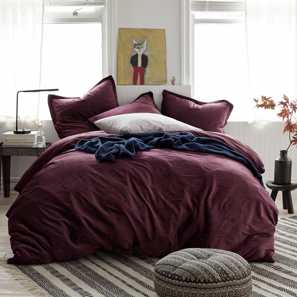Easton Velvet 3-Piece Cotton Blend Queen Duvet Cover Set in Burgundy