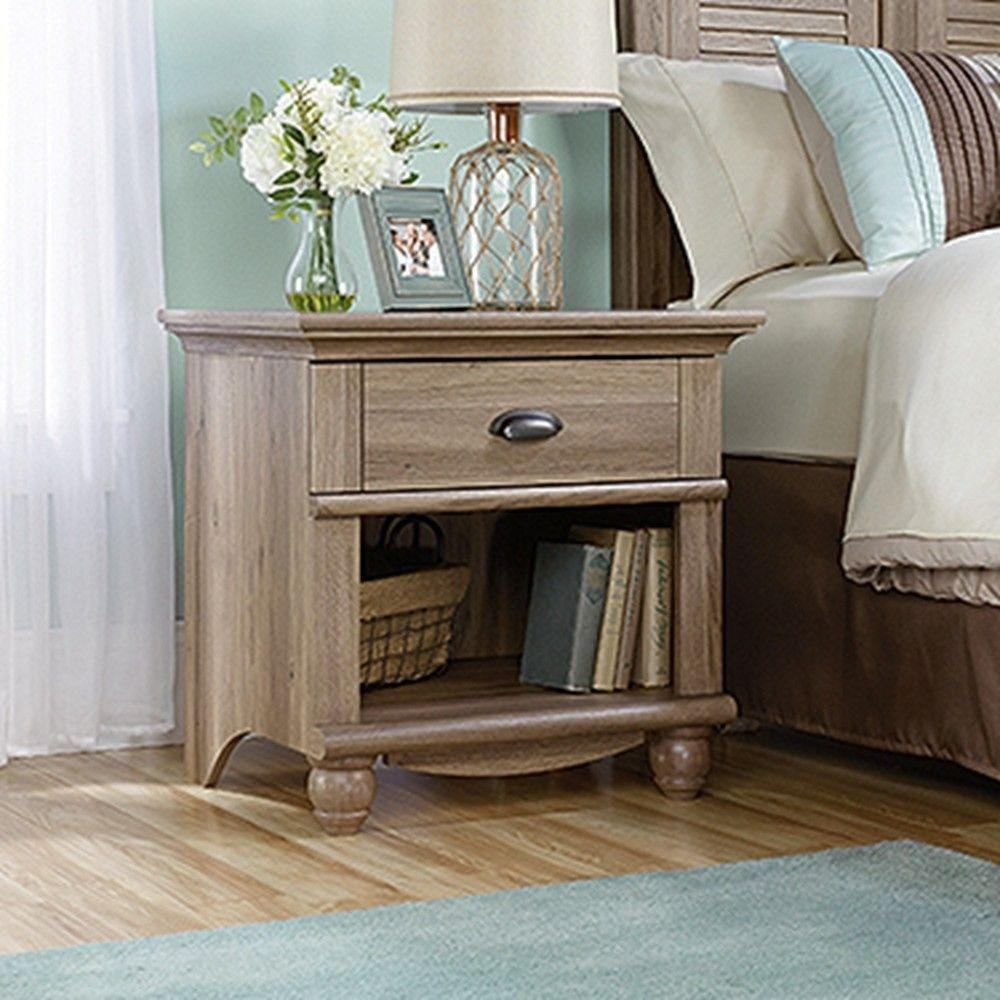 SAUDER Harbor View 1 Drawer Salt Oak Nightstand