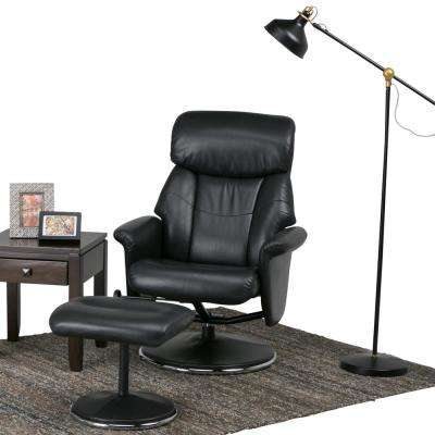 Carson Black Air Leather Euro Recliner (Set of 1)