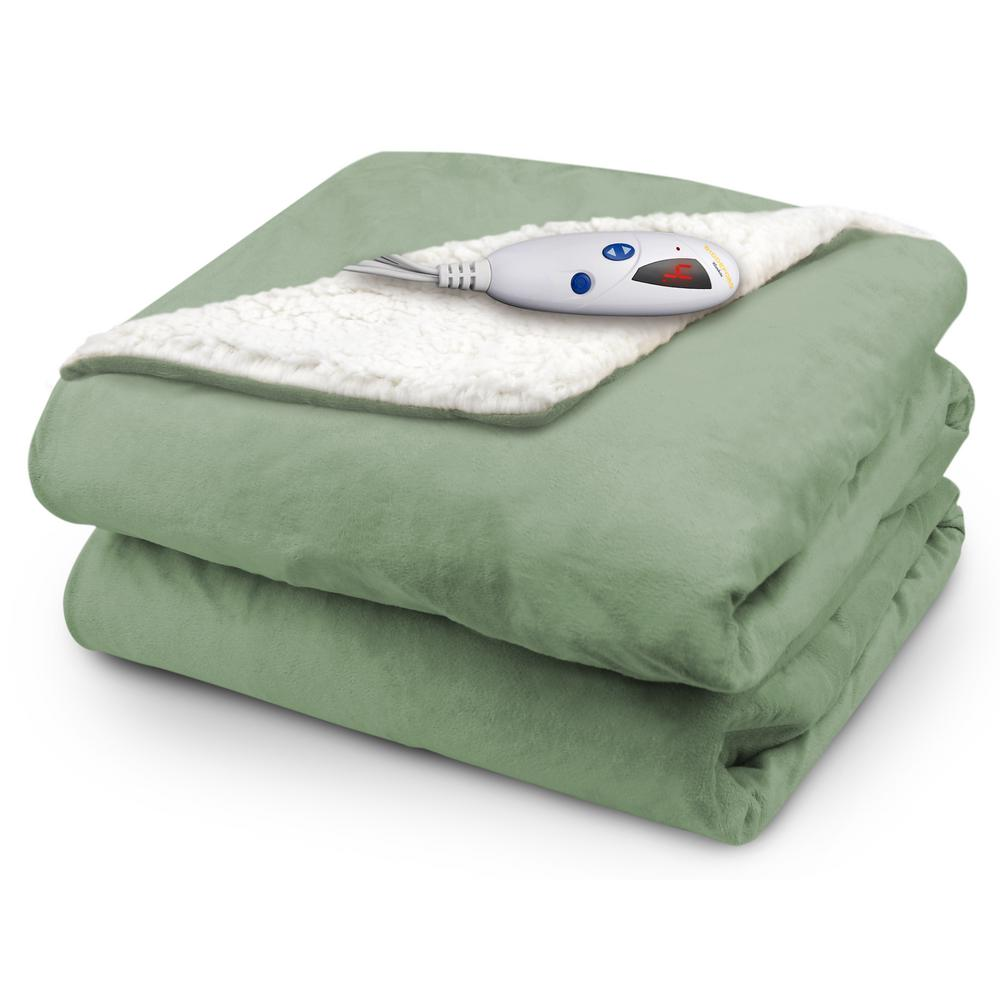 Biddeford Blankets 4480 Series 1 Size Sage Mink With Natural Sherpa