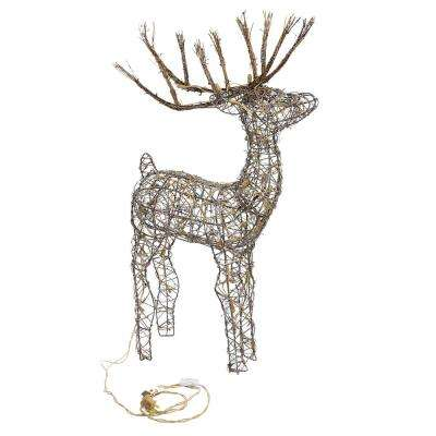 Alpine Corporation Rattan Reindeer with Halogen Lights, Outdoor Plug-In Festive Holiday Décor for Yard and Garden