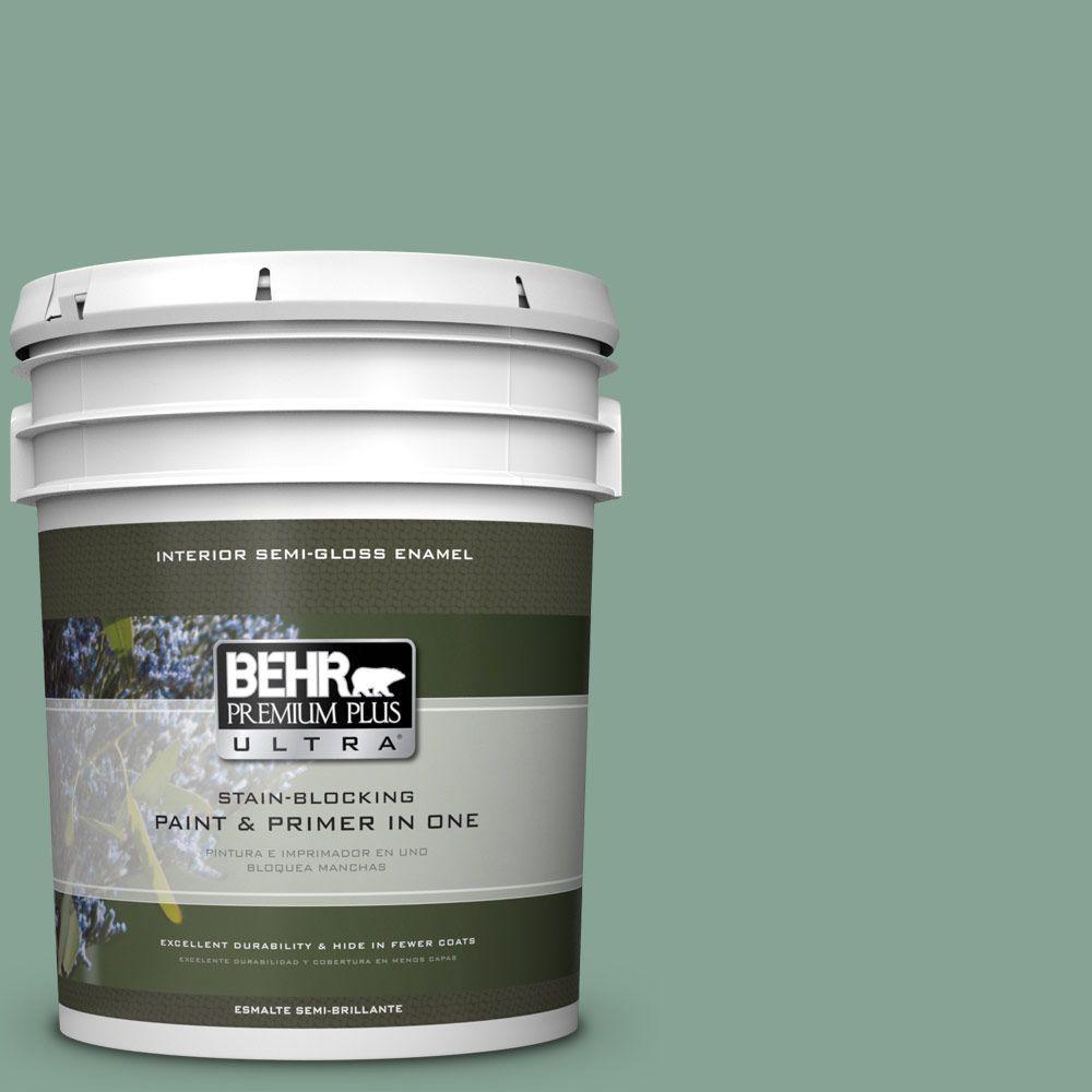 5 gal. #T16-12 Modern Mint Semi-Gloss Enamel Interior Paint